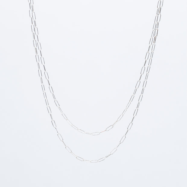 Sterling Silver Petite Paper Clip Long Chain