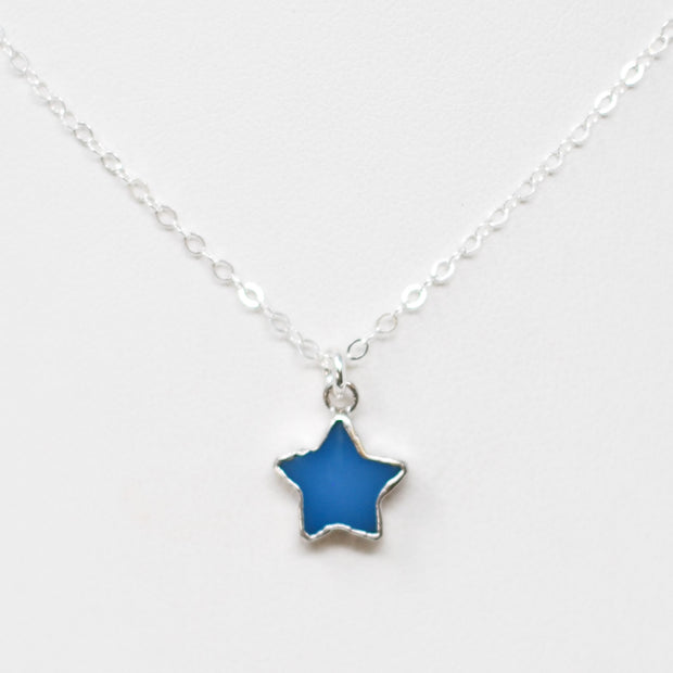 Bright Blue Star Druzy & Sterling Silver Necklace