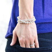 Sterling Silver Beaded Lux Bracelet Set