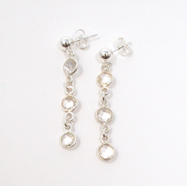 Crystal Quratz & Sterling Silver Earrings