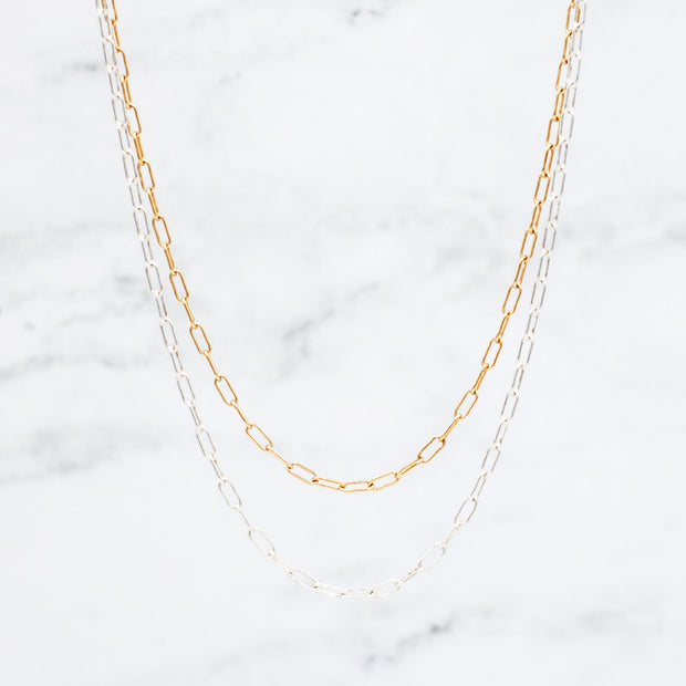 Small Sterling Silver & Goldfill Paper Clip Necklace Layering Set