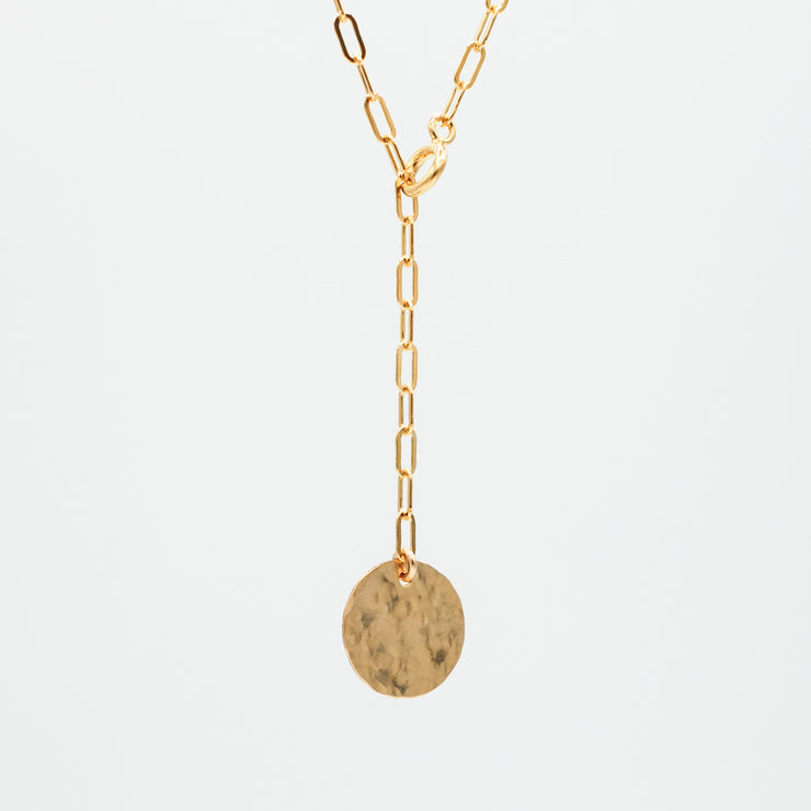 Goldfill Small Paper Clip Lariat Disc Necklace