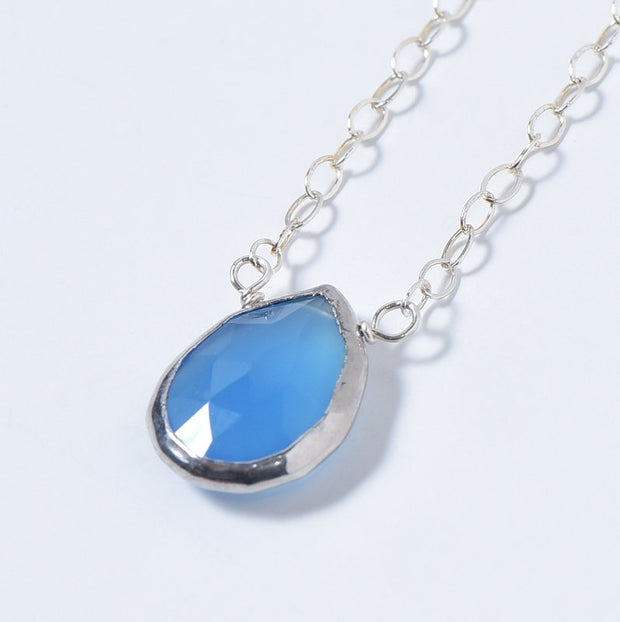 Bright Blue Chalcedony & Sterling Silver Necklace