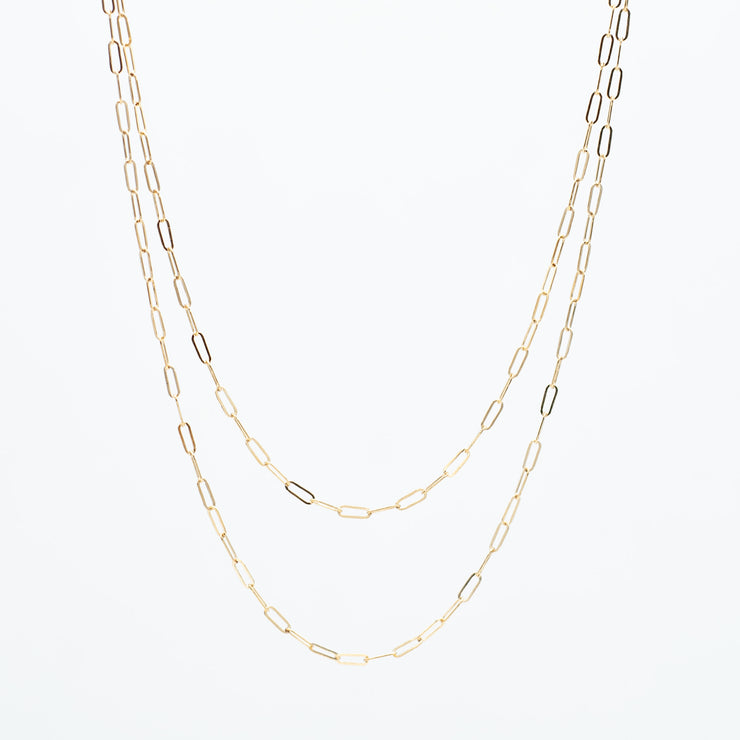 14K Goldfill Petite Paper Clip Long Chain