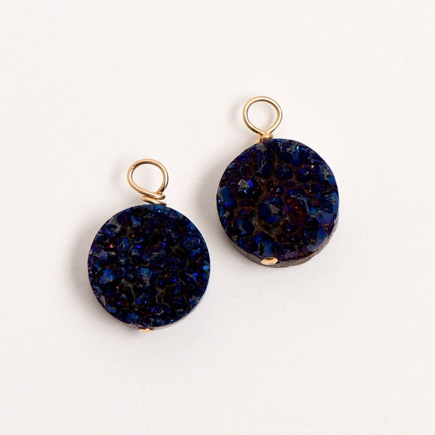 Dark Navy Druzy Hoop Drops