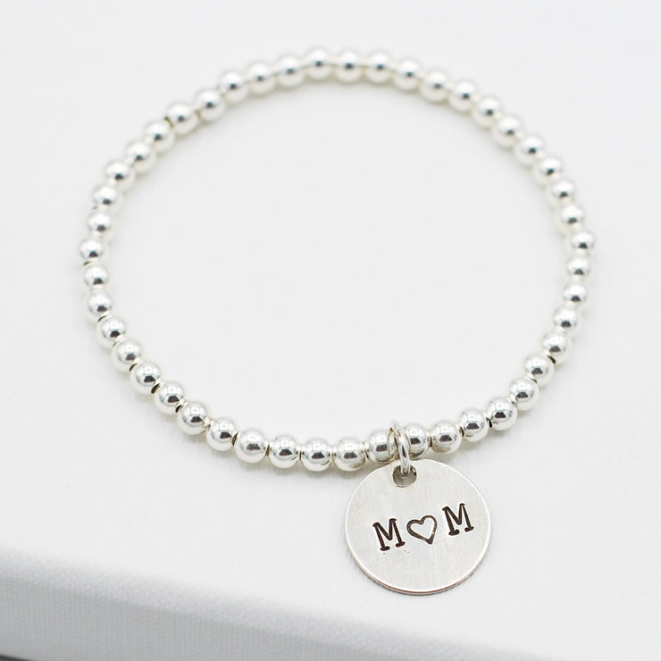 Personalized Sterling Silver Mom Bracelet