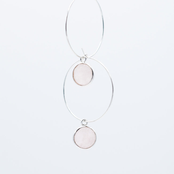 Rose Quartz Hoop Drops