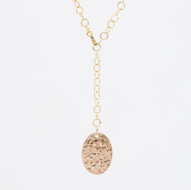 Hammered 14K Goldfill Oval Lariat Necklace