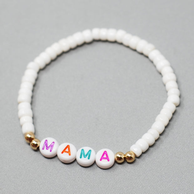 Personalized 'Mama' White Shell Bracelet