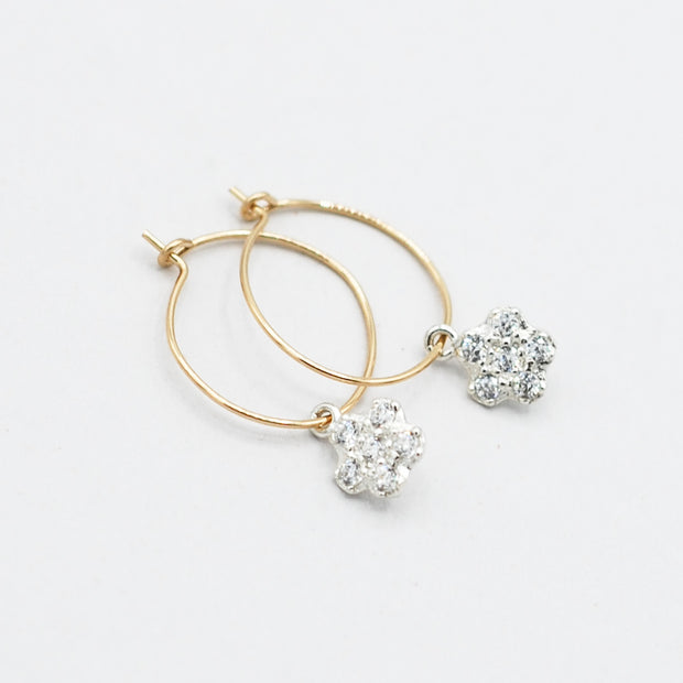 Hoops & Cubic Zirconia Flower Drops