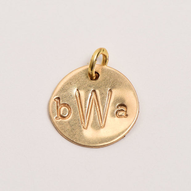 "5/8"" Goldfill Hand Stamped Charm"