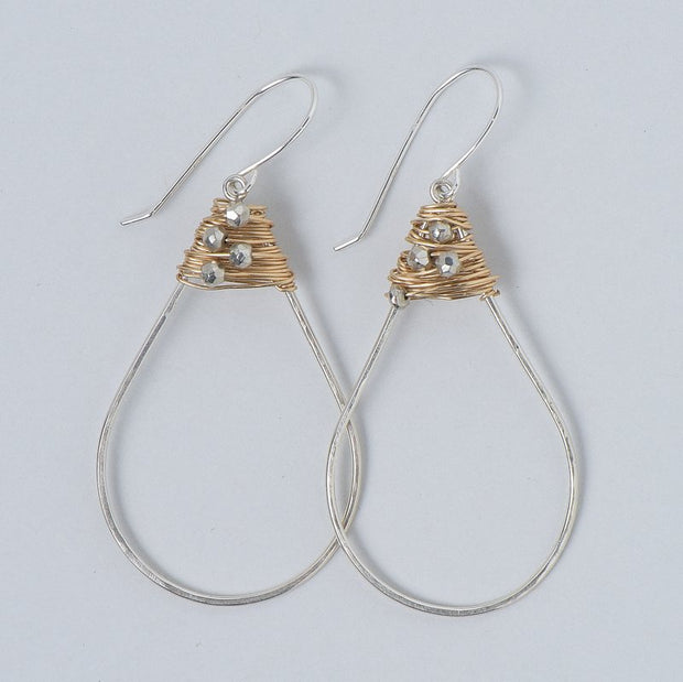 Wire Wrapped Pyrite Earrings
