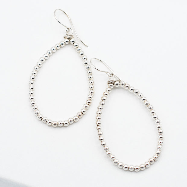 Sterling Silver 3mm Beaded & Wire Wrapped Earrings