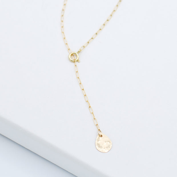 Petite 14K Goldfill Teardrop Lariat Necklace