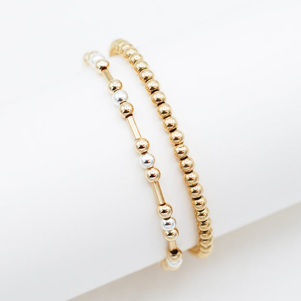 Mixed Metal Tube & Goldfill Bracelet Set