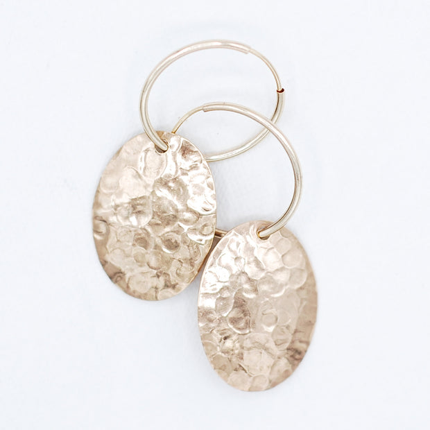 14K Goldfill Heavy Hammered Oval Drops
