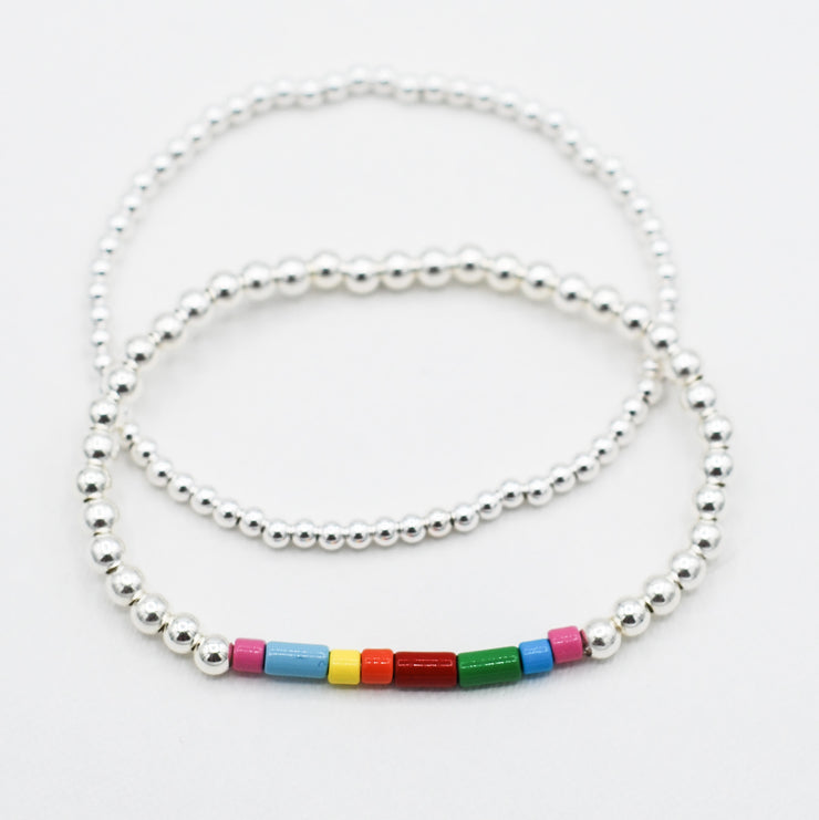 Sterling Silver & Multicolor Enamel Bracelet Set