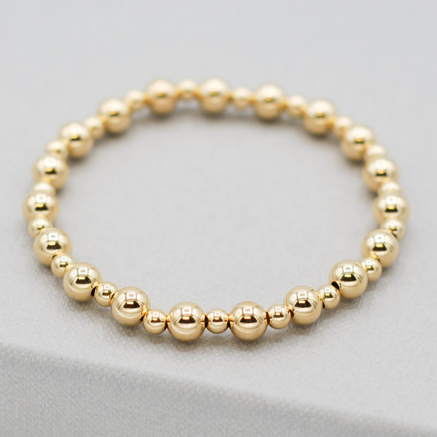 4mm & 6mm 14k Goldfill Beaded Bracelet