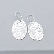 Sterling Silver Hammered Oval Earrings