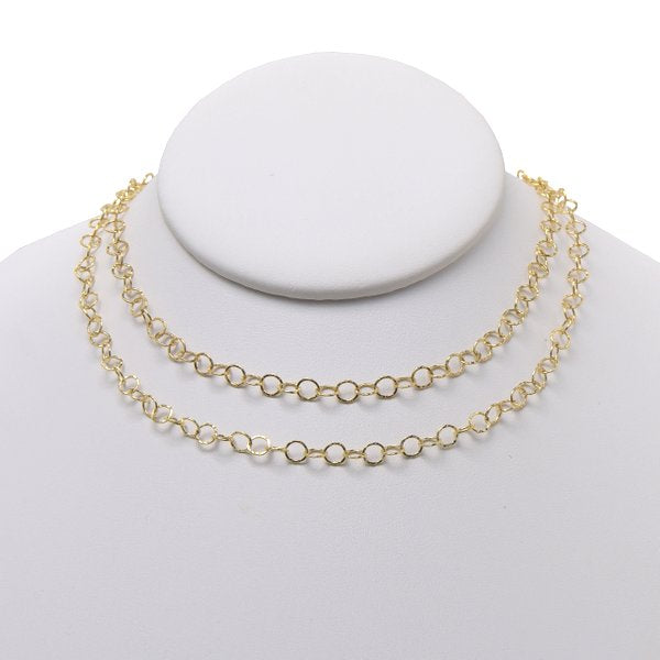 5mm Goldfill Hammered Long Chain