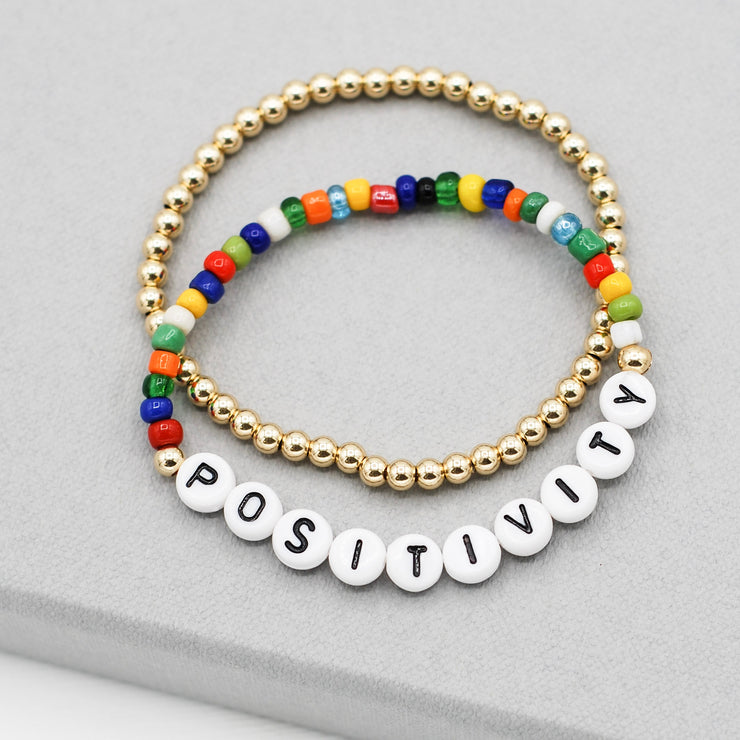 Mantra 'Positivity' Multicolor & Goldfill Bracelet Set