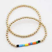 Goldfill & Multicolor Enamel Bead Bracelet Set