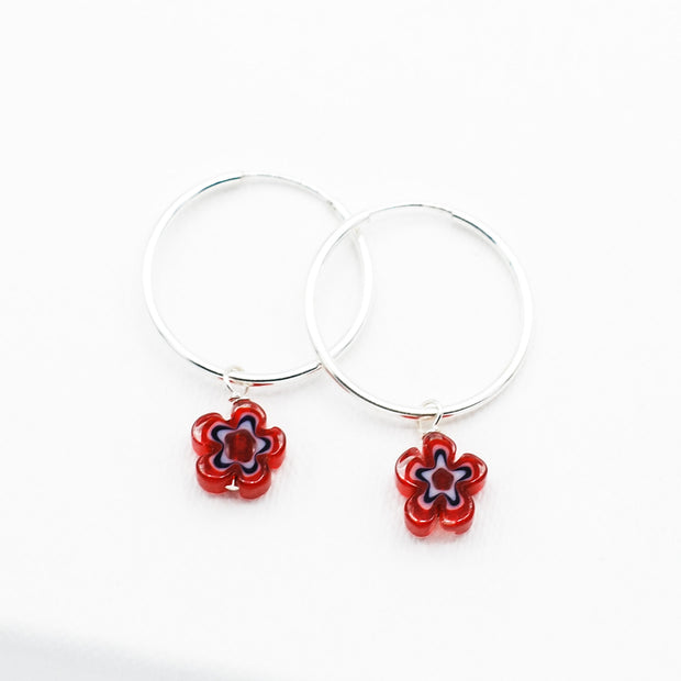Hoops & Red White Blue Millefiori Drops