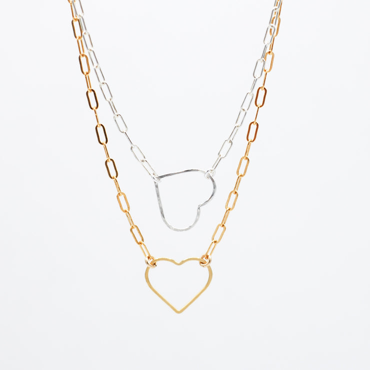 Sterling Silver Heart Paper Clip Necklace