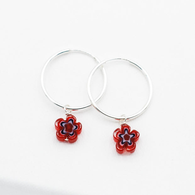 Red White & Blue Millefiori Flower Hoop Drops