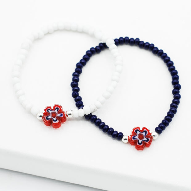 Red, White and Blue Millefiori Flower Bracelet