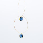 Navy Quartz Hoop Drops
