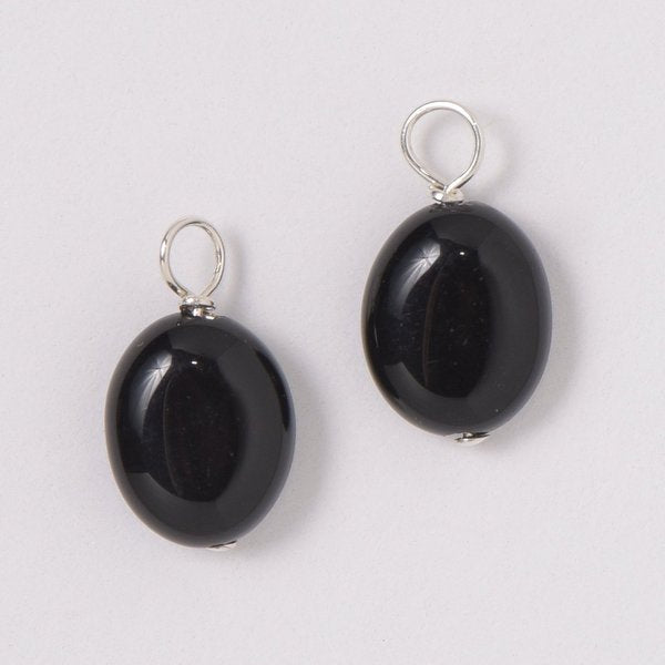 Smooth Black Onyx Hoop Drops