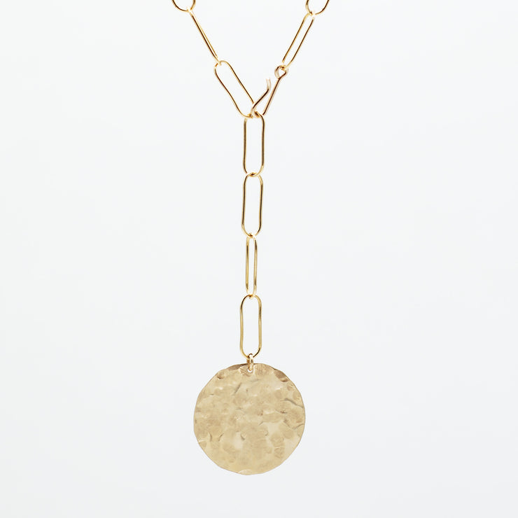 Goldfill Extra Large Paper Clip Lariat Disc Necklace