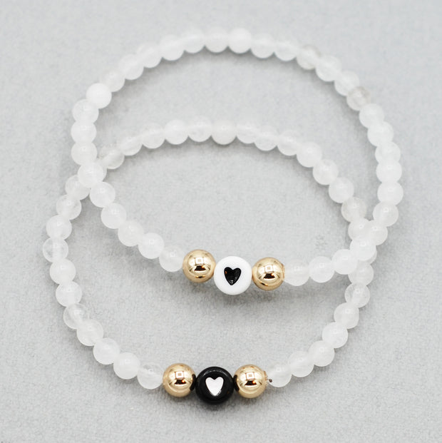 White Snow Quartz Heart Bracelet