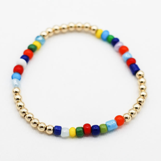 Goldfill & Multicolor Seed Bead Bracelet