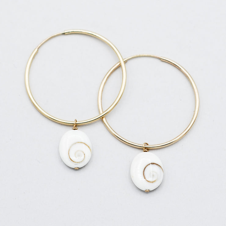 White Shell Hoop Drops