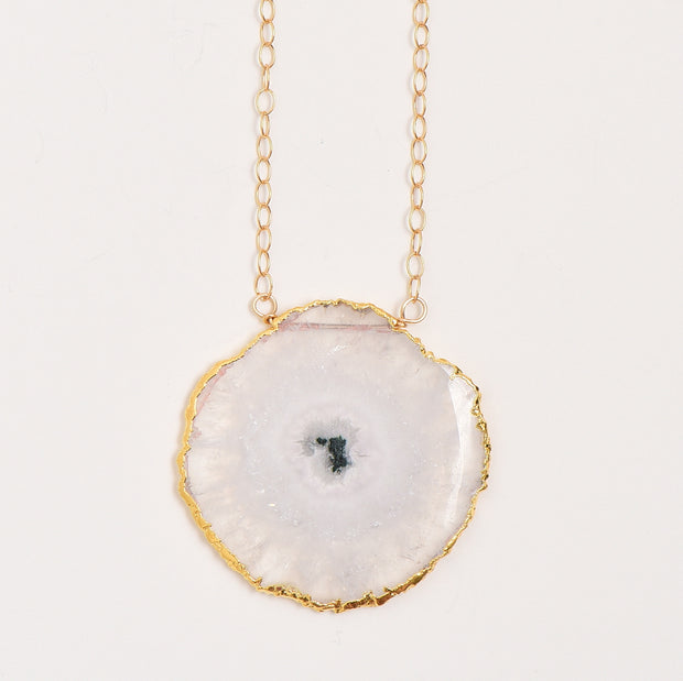 White Solar Quartz & Goldfill Necklace