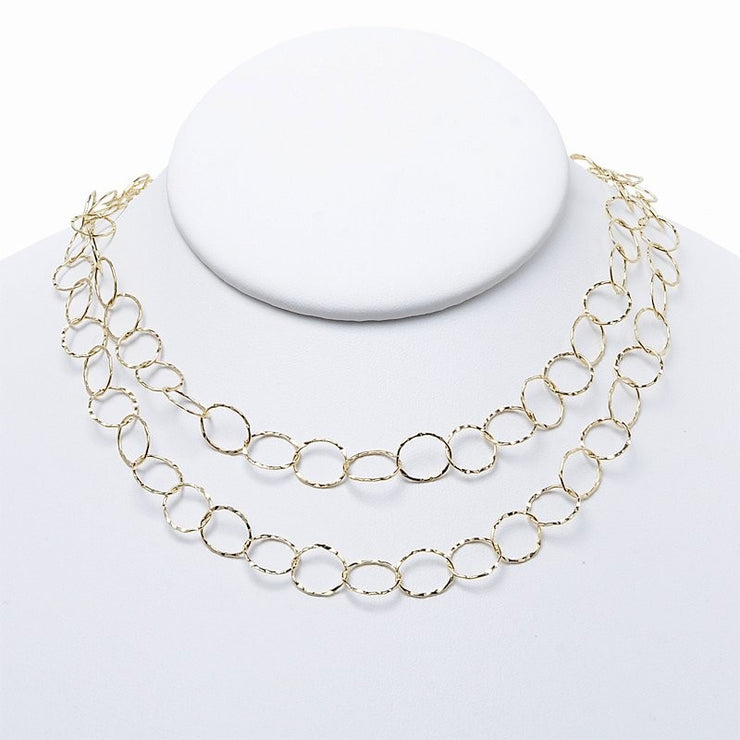 10mm Goldfill Hammered Long Chain