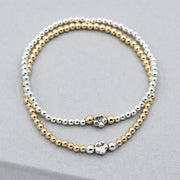 Sterling Silver & Goldfill Flower Bracelet