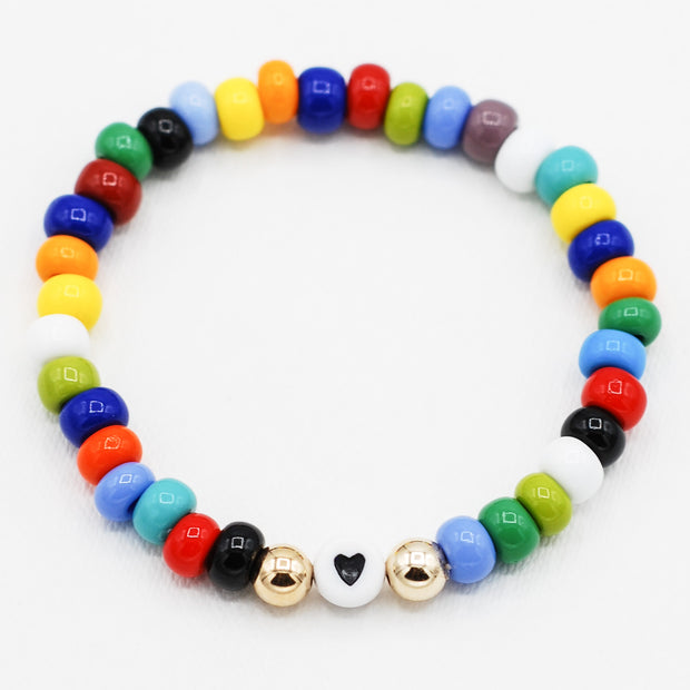 Multicolor Candy Seed Bead Heart Bracelet