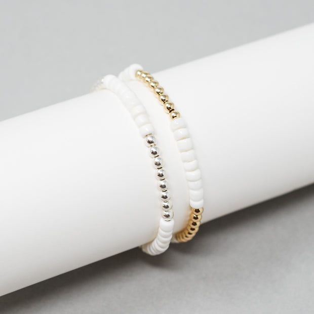 White Shell Beaded Lux Bracelet