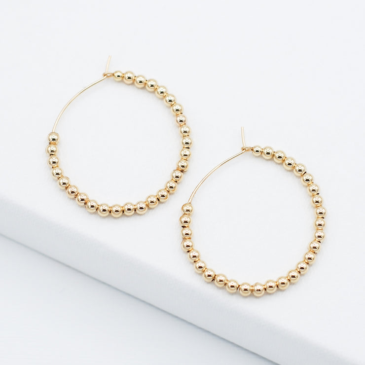 Medium 14k Goldfill 2.5mm Beaded Hoops