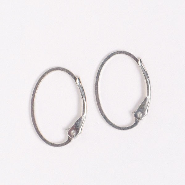 Sterling Silver Leverback Oval Hoops