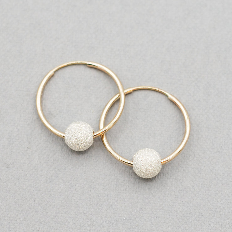 "Sterling Silver ""Sparkle Ball"" Hoop Drops"
