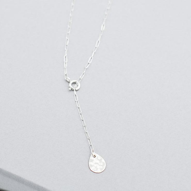 Petite Sterling Silver Teardrop Lariat Necklace
