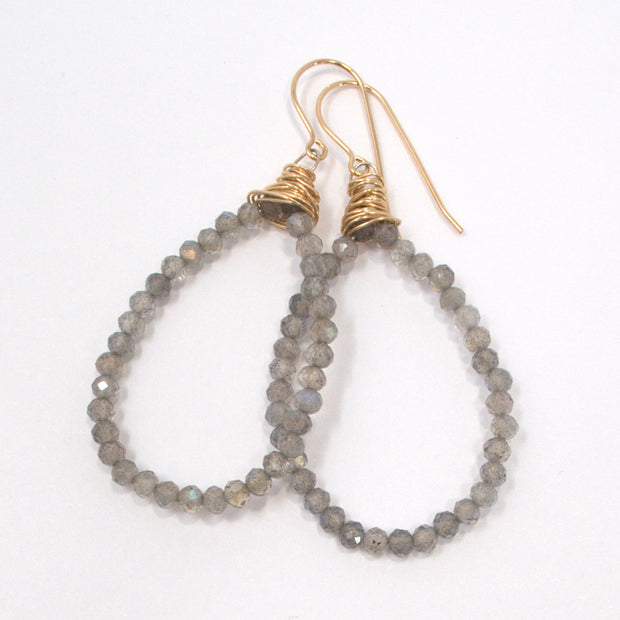Gray Moonstone Wire Wrapped Earrings