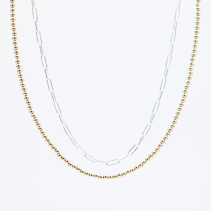 Sterling Silver Small Paper Clip Chain & Goldfill Beaded Necklace Layering Set