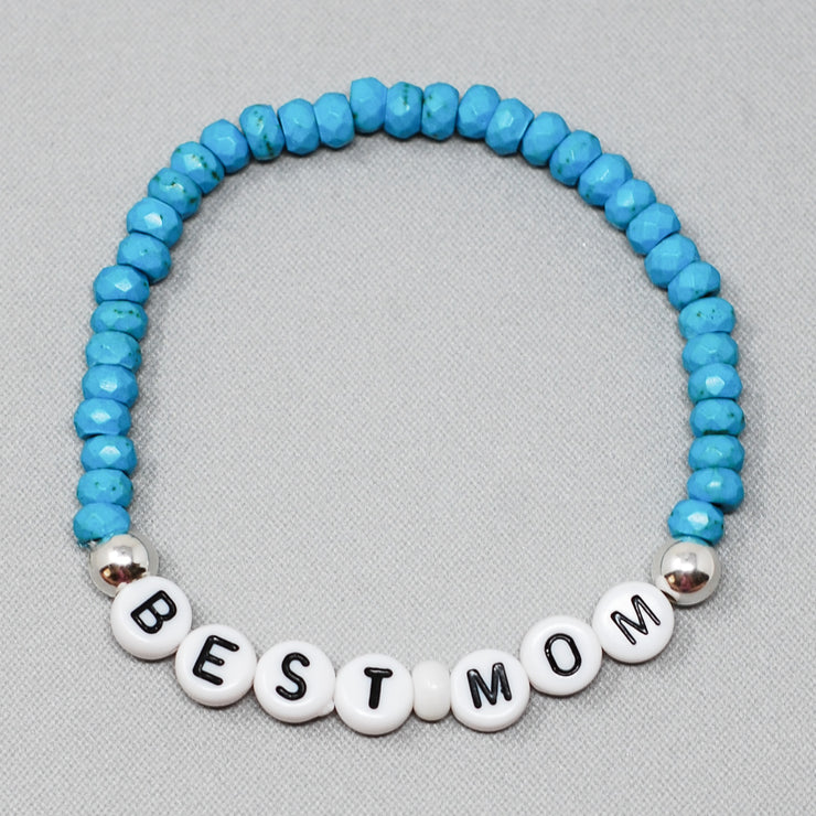 Personalized 'Best Mom' Turquoise Bracelet