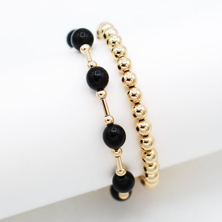 Black Hollow Pearl & 14K Goldfill Bracelet Set