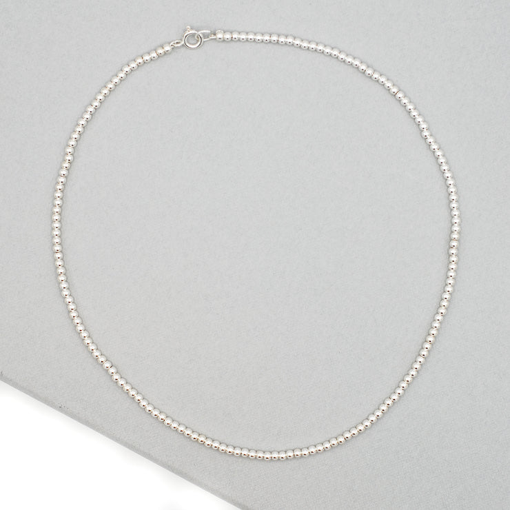 3mm Sterling Silver Beaded Necklace
